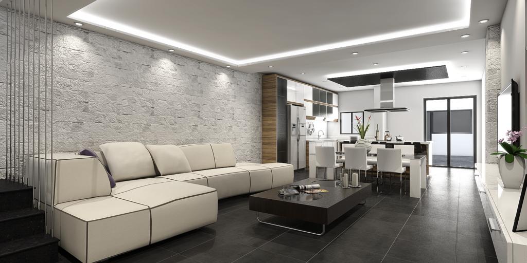 Vivienda salón cocina diseño